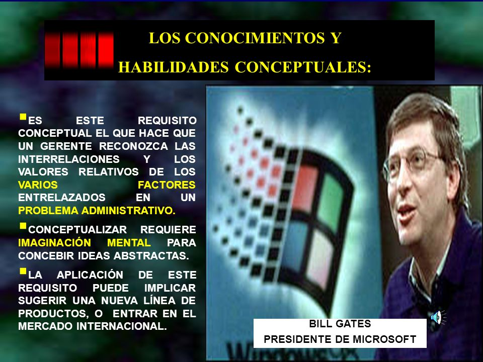 Dr. Arístides Tejada Arana12 LOS CONOCIMIENTOS Y HABILIDADES CONCEPTUALES: ES ESTE REQUISITO CONCEPTUAL EL QUE HACE QUE UN GERENTE RECONOZCA LAS INTER
