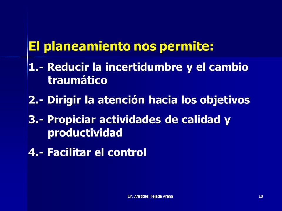 Dr. Arístides Tejada Arana18 El planeamiento nos permite: 1.- Reducir la incertidumbre y el cambio traumático 2.- Dirigir la atención hacia los objeti