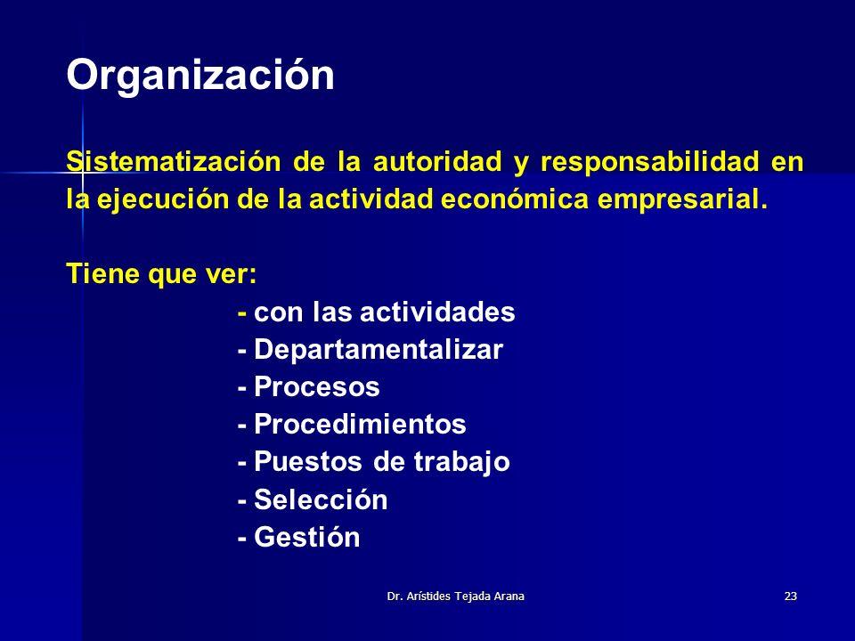 Dr. Arístides Tejada Arana23 Organización Sistematización de la autoridad y responsabilidad en la ejecución de la actividad económica empresarial. Tie