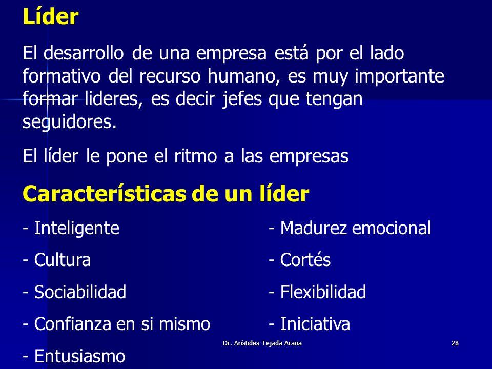 Dr. Arístides Tejada Arana28 Líder El desarrollo de una empresa está por el lado formativo del recurso humano, es muy importante formar lideres, es de