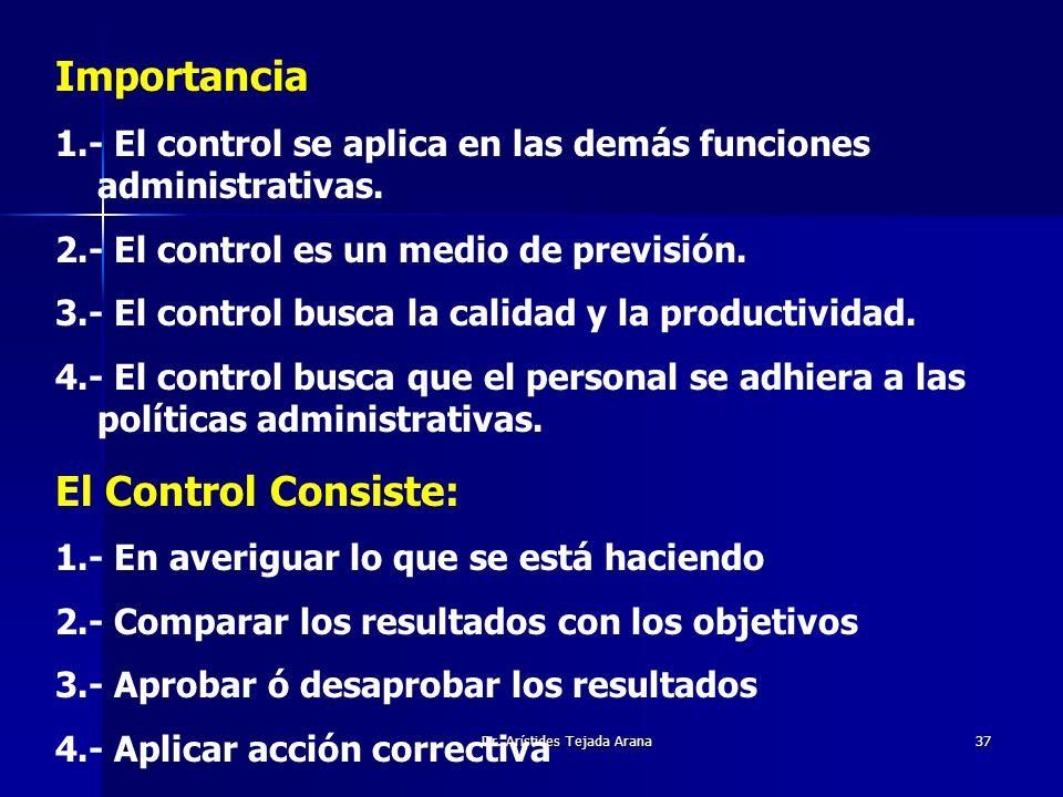 Dr. Arístides Tejada Arana37 Importancia 1.- El control se aplica en las demás funciones administrativas. 2.- El control es un medio de previsión. 3.-
