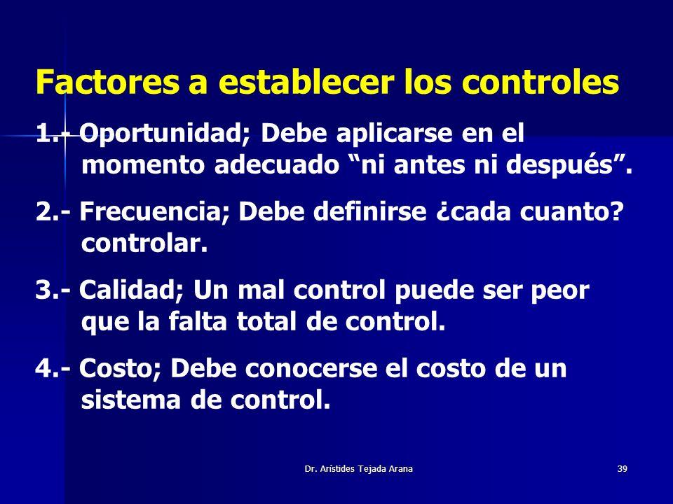 Dr. Arístides Tejada Arana39 Factores a establecer los controles 1.- Oportunidad; Debe aplicarse en el momento adecuado ni antes ni después. 2.- Frecu