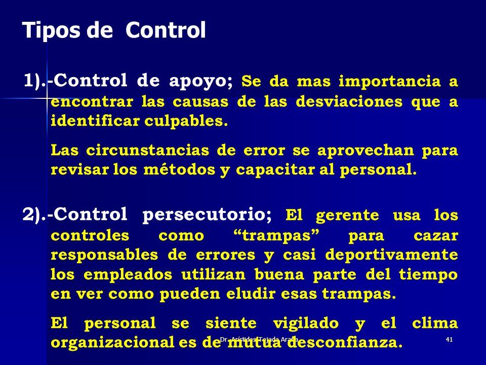 Dr. Arístides Tejada Arana41 Tipos de Control 1).-Control de apoyo; Se da mas importancia a encontrar las causas de las desviaciones que a identificar
