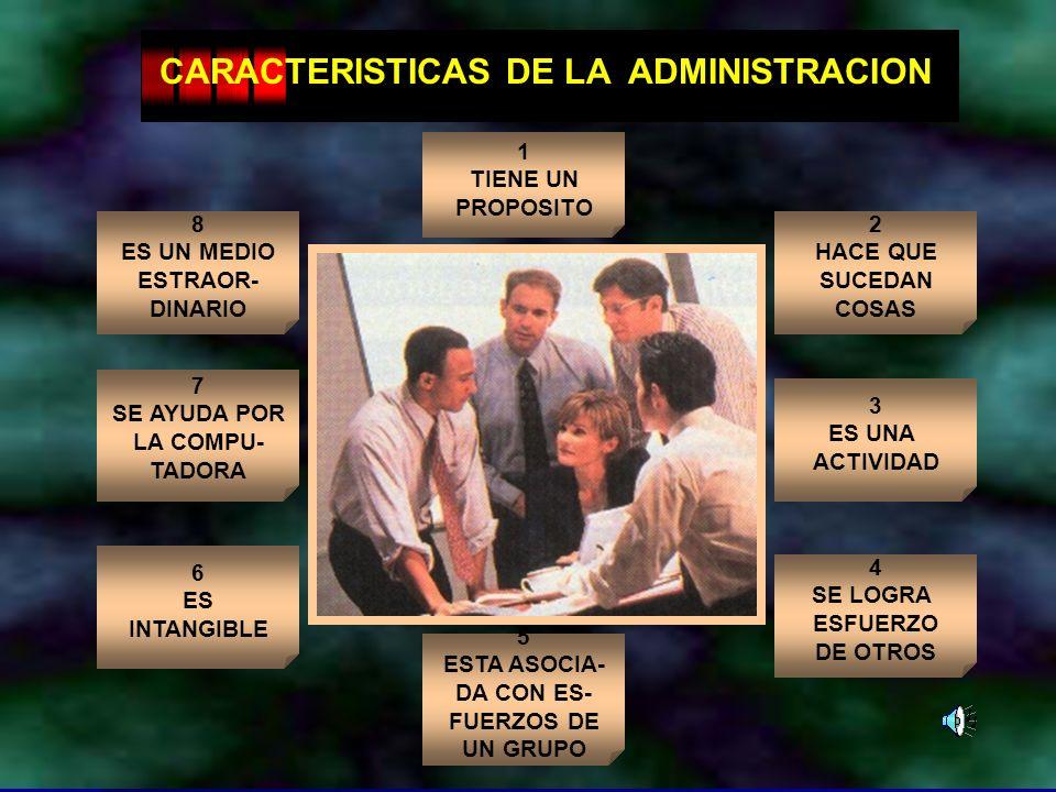 Dr. Arístides Tejada Arana8 CARACTERISTICAS DE LA ADMINISTRACION 1 TIENE UN PROPOSITO 5 ESTA ASOCIA- DA CON ES- FUERZOS DE UN GRUPO 3 ES UNA ACTIVIDAD