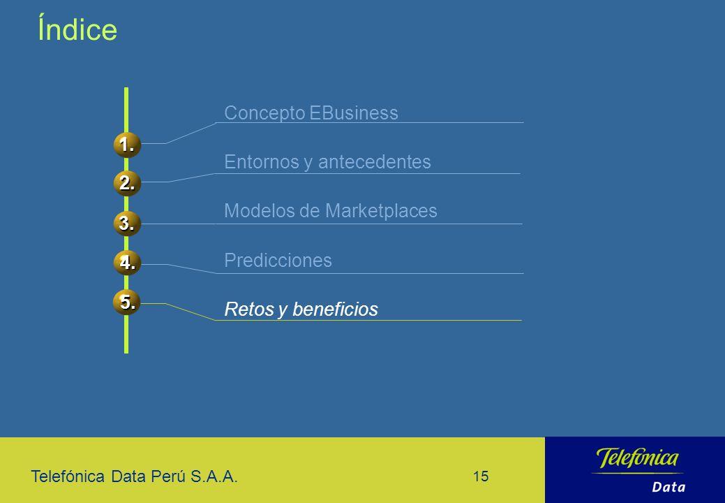 Telefónica Data Perú S.A.A. 15 Concepto EBusiness Entornos y antecedentes Modelos de Marketplaces Predicciones Retos y beneficios Índice 1. 2. 3. 4. 5