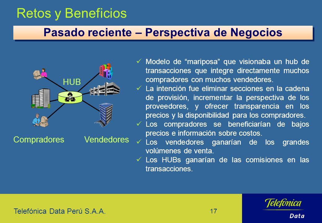 Telefónica Data Perú S.A.A. 17 Retos y Beneficios Modelo de mariposa que visionaba un hub de transacciones que integre directamente muchos compradores