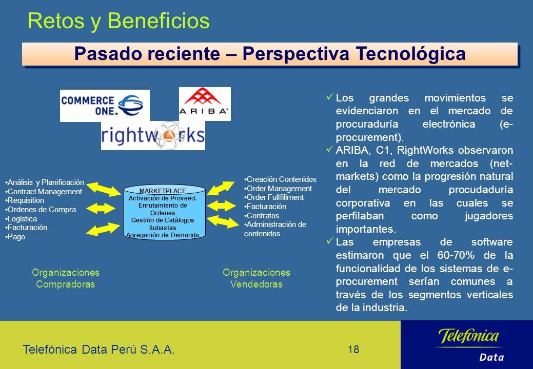 Telefónica Data Perú S.A.A. 18 Retos y Beneficios Los grandes movimientos se evidenciaron en el mercado de procuraduría electrónica (e- procurement).