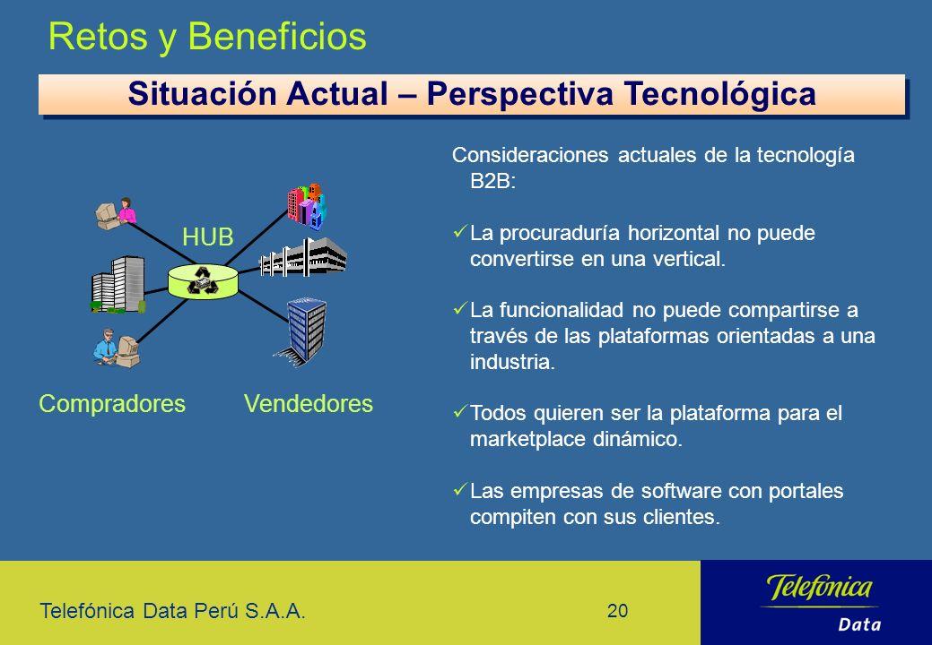 Telefónica Data Perú S.A.A. 20 Retos y Beneficios Consideraciones actuales de la tecnología B2B: La procuraduría horizontal no puede convertirse en un