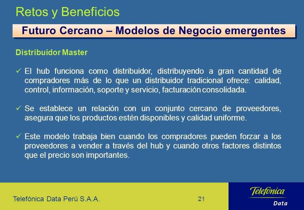 Telefónica Data Perú S.A.A. 21 Retos y Beneficios Futuro Cercano – Modelos de Negocio emergentes Distribuidor Master El hub funciona como distribuidor