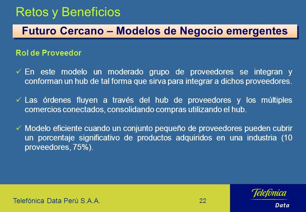 Telefónica Data Perú S.A.A. 22 Retos y Beneficios Futuro Cercano – Modelos de Negocio emergentes Rol de Proveedor En este modelo un moderado grupo de