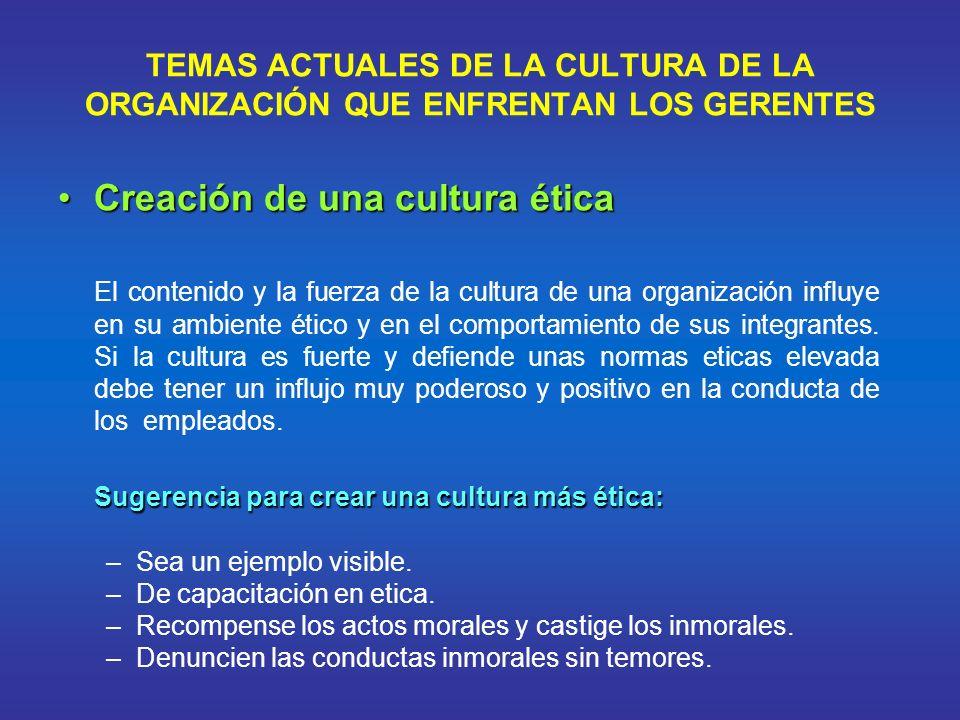 TEMAS ACTUALES DE LA CULTURA DE LA ORGANIZACIÓN QUE ENFRENTAN LOS GERENTES Creación de una cultura éticaCreación de una cultura ética El contenido y l