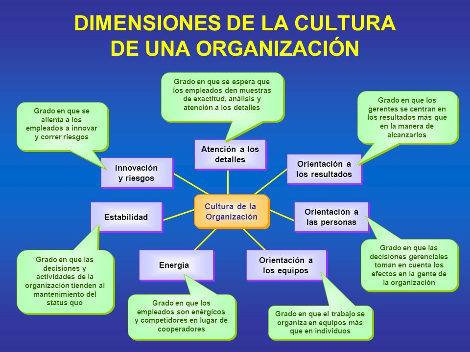 DIMENSIONES DE LA CULTURA DE UNA ORGANIZACIÓN Cultura de la Organización Cultura de la Organización Atención a los detalles Atención a los detalles Or