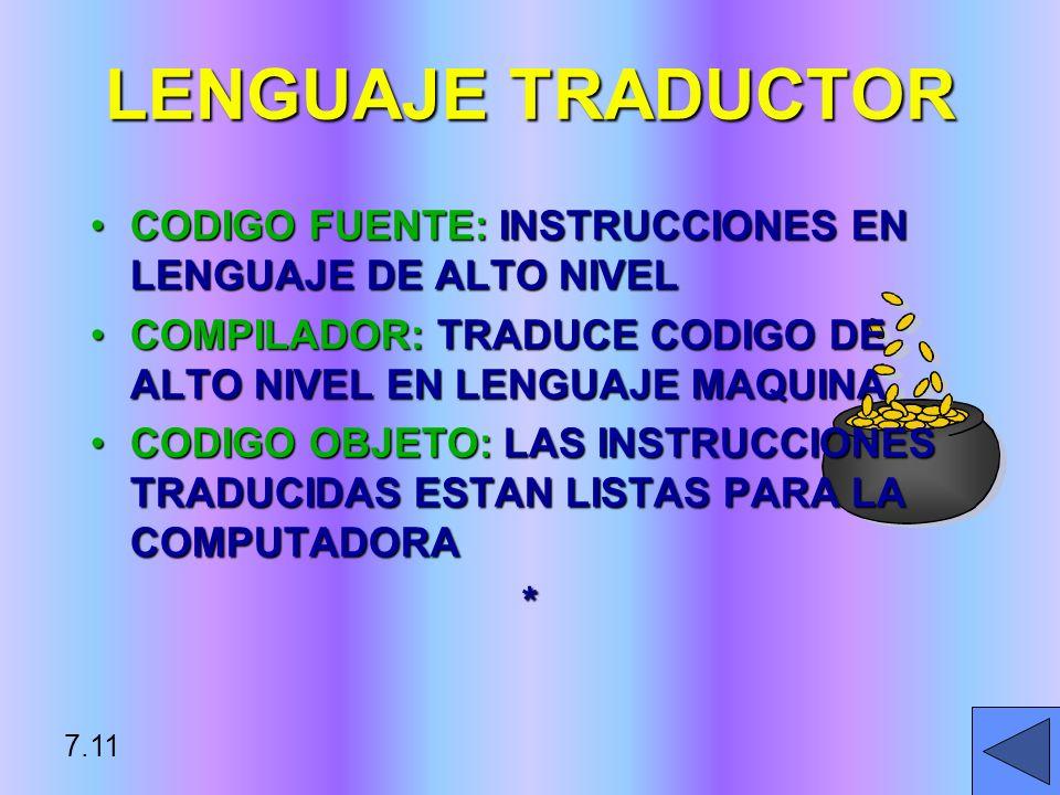 CODIGO FUENTE: INSTRUCCIONES EN LENGUAJE DE ALTO NIVELCODIGO FUENTE: INSTRUCCIONES EN LENGUAJE DE ALTO NIVEL COMPILADOR: TRADUCE CODIGO DE ALTO NIVEL