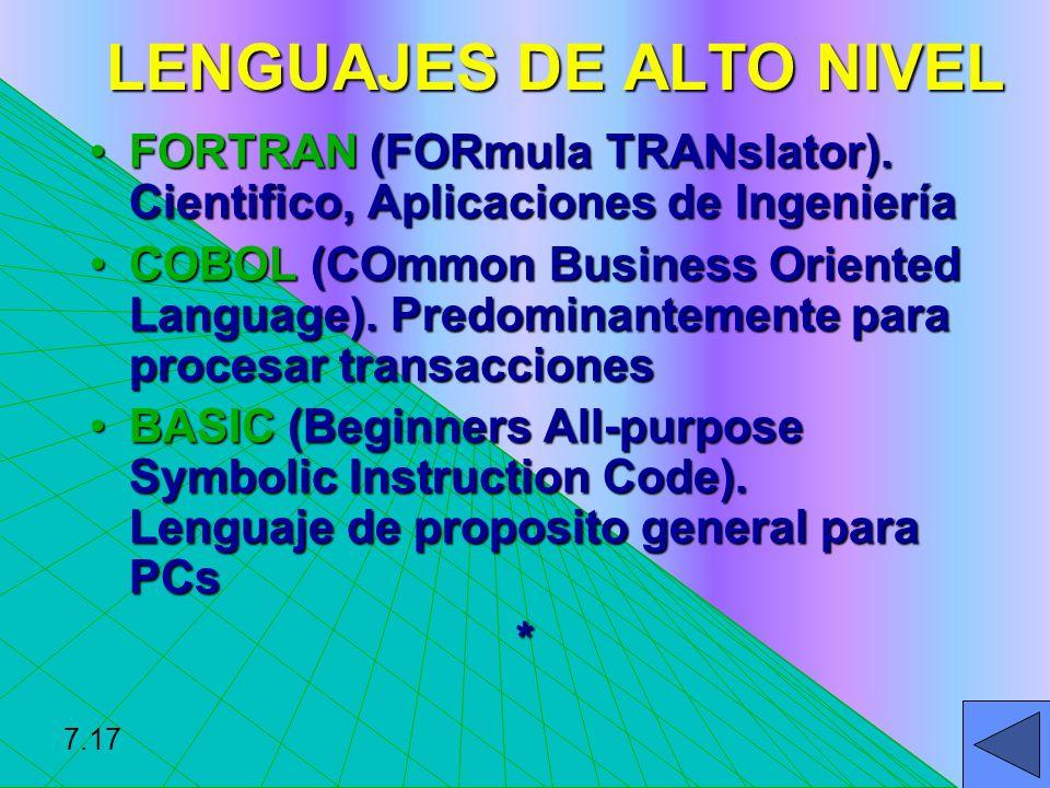 diferentes lenguajes de alto nivel: