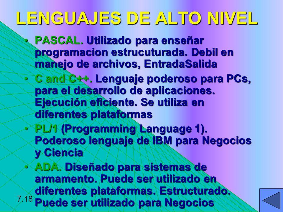 LENGUAJES DE ALTO NIVEL PASCAL. Utilizado para enseñar programacion estrucuturada. Debil en manejo de archivos, EntradaSalidaPASCAL. Utilizado para en