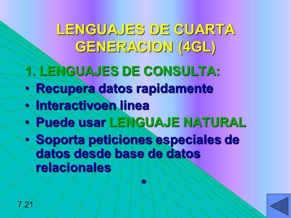 LENGUAJES DE CUARTA GENERACION (4GL) 1. LENGUAJES DE CONSULTA: Recupera datos rapidamenteRecupera datos rapidamente Interactivoen lineaInteractivoen l