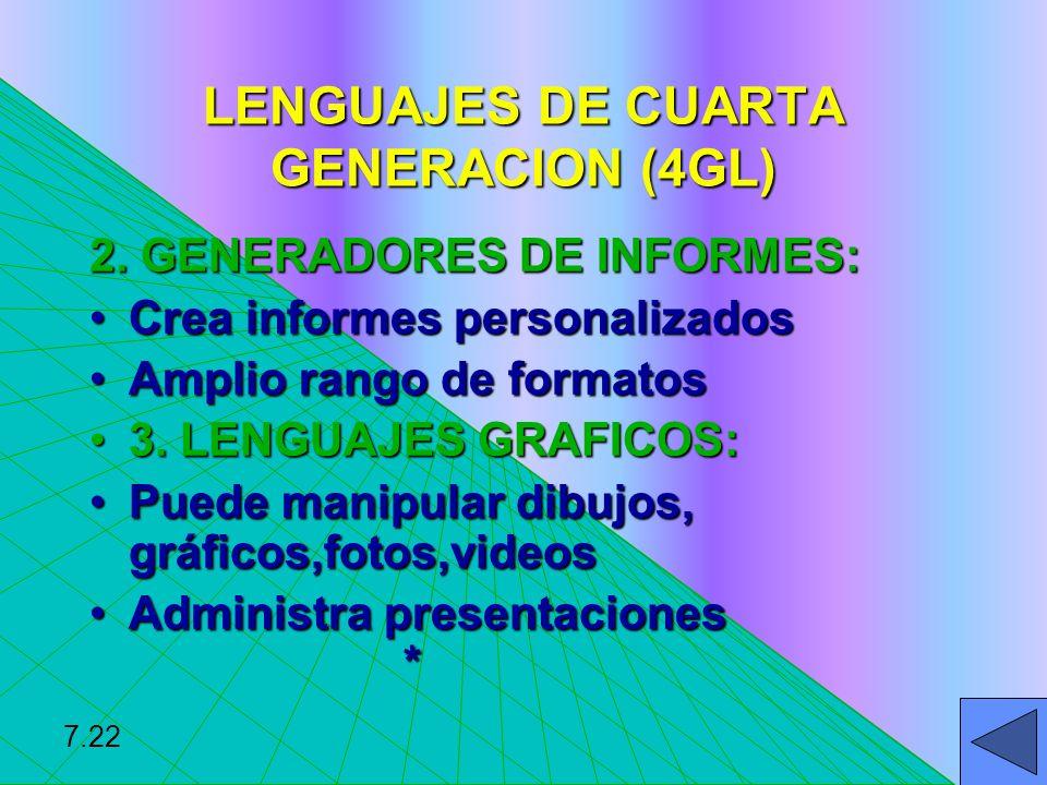 LENGUAJES DE CUARTA GENERACION (4GL) 2. GENERADORES DE INFORMES: Crea informes personalizadosCrea informes personalizados Amplio rango de formatosAmpl