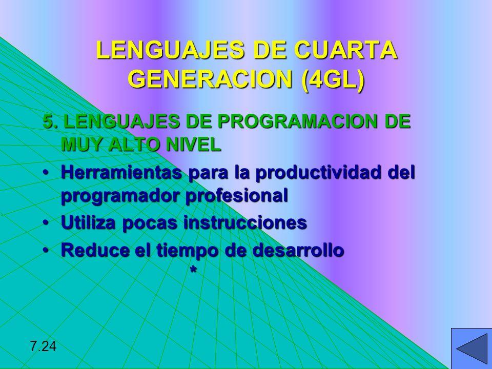 LENGUAJES DE CUARTA GENERACION (4GL) 5. LENGUAJES DE PROGRAMACION DE MUY ALTO NIVEL Herramientas para la productividad del programador profesionalHerr