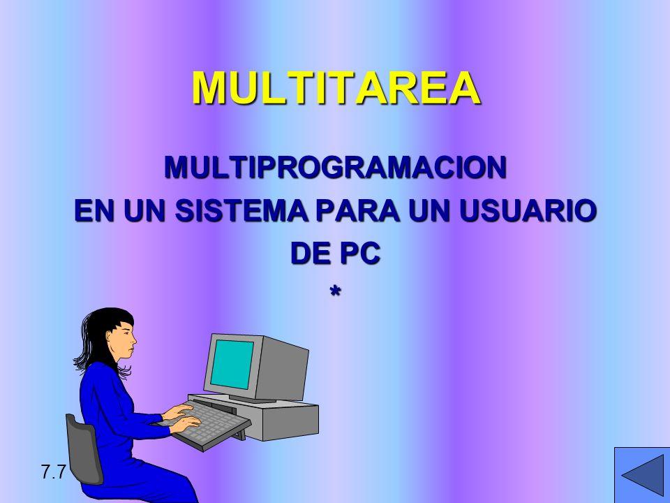ALMACENAMIENTO VIRTUAL METODO PARA MANEJAR VARIOS PROGRAMAS EN ALMACENAMIENTO PRIMARIO: PROGRAMA SE DIVIDE ENTREPROGRAMA SE DIVIDE ENTRE PORCIONES DE LONGITUD FIJA (PAGINAS) OPORCIONES DE LONGITUD FIJA (PAGINAS) O –LONGITUD VARIABLE (SEGMENTOS) LA PORCION ACTUAL RESIDE EN ALMACENAMIENTO PRIMARIOLA PORCION ACTUAL RESIDE EN ALMACENAMIENTO PRIMARIO LAS PORCIONES SON INTERCAMBIADAS CUANDO NO SE USANLAS PORCIONES SON INTERCAMBIADAS CUANDO NO SE USAN 7.8