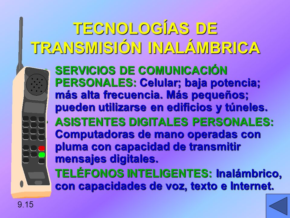 TECNOLOGÍAS DE TRANSMISIÓN INALÁMBRICA SISTEMA DE LOCALIZADORES: Emiten un sonido cuando el usuario recibe un mensaje.SISTEMA DE LOCALIZADORES: Emiten