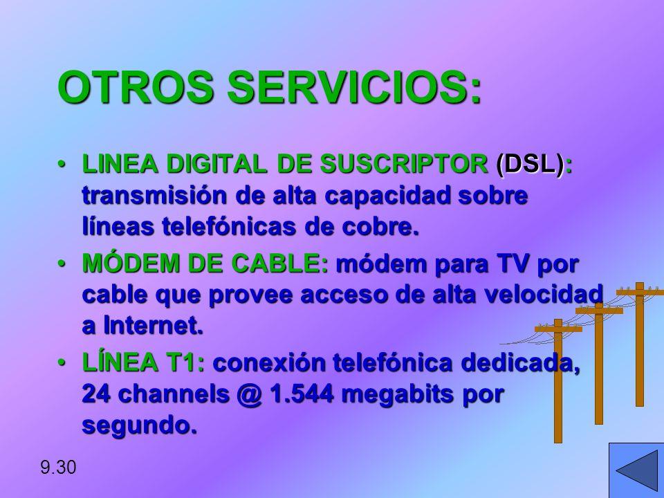 RED DIGITAL DE SERVICIOS INTEGRADOS (ISDN): ESTÁNDAR INTERNACIONAL PARA TRANSMITIR VOZ, VIDEO Y DATOS USANDO LAS LÍNEAS TELEFÓNICAS PÚBLICAS. 9.29