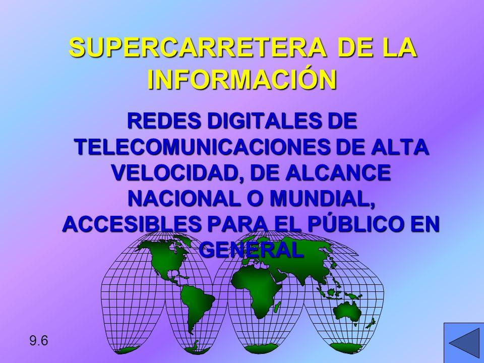 9.5 TELECOMUNICACIONES COMUNICACIÓN DE INFORMACIÓN POR MEDIOS ELECTRÓNICOS, GENERALMENTE A CIERTA DISTANCIA.