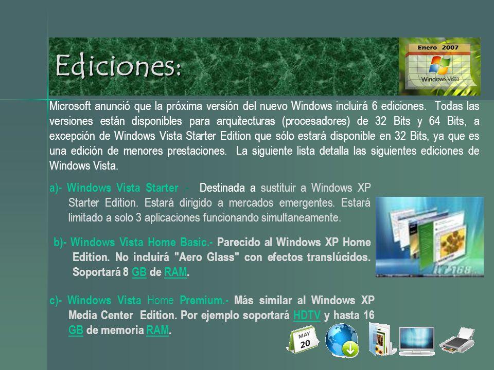 Ediciones: Microsoft anunció que la próxima versión del nuevo Windows incluirá 6 ediciones.