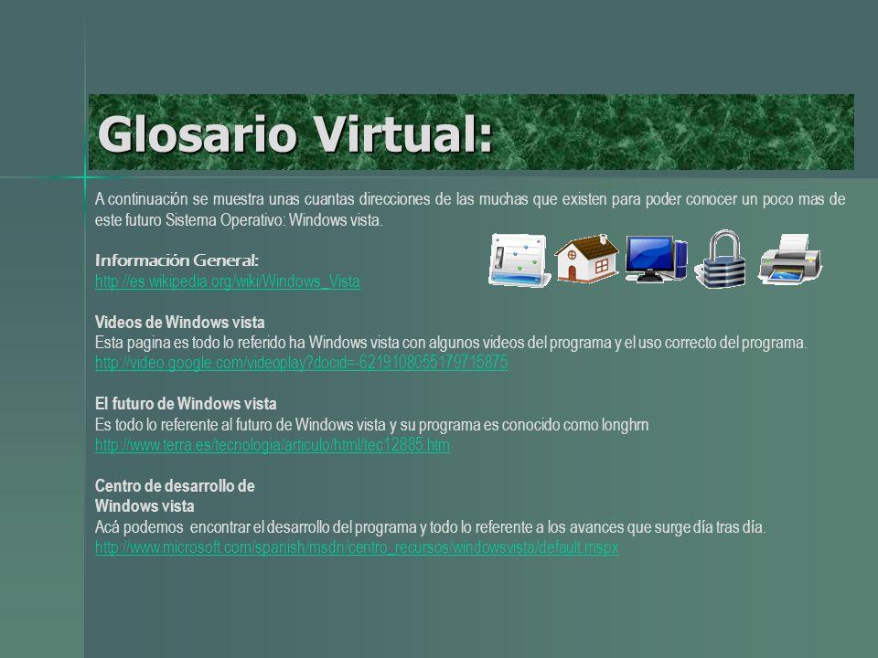 Glosario Virtual: A continuación se muestra unas cuantas direcciones de las muchas que existen para poder conocer un poco mas de este futuro Sistema Operativo: Windows vista.