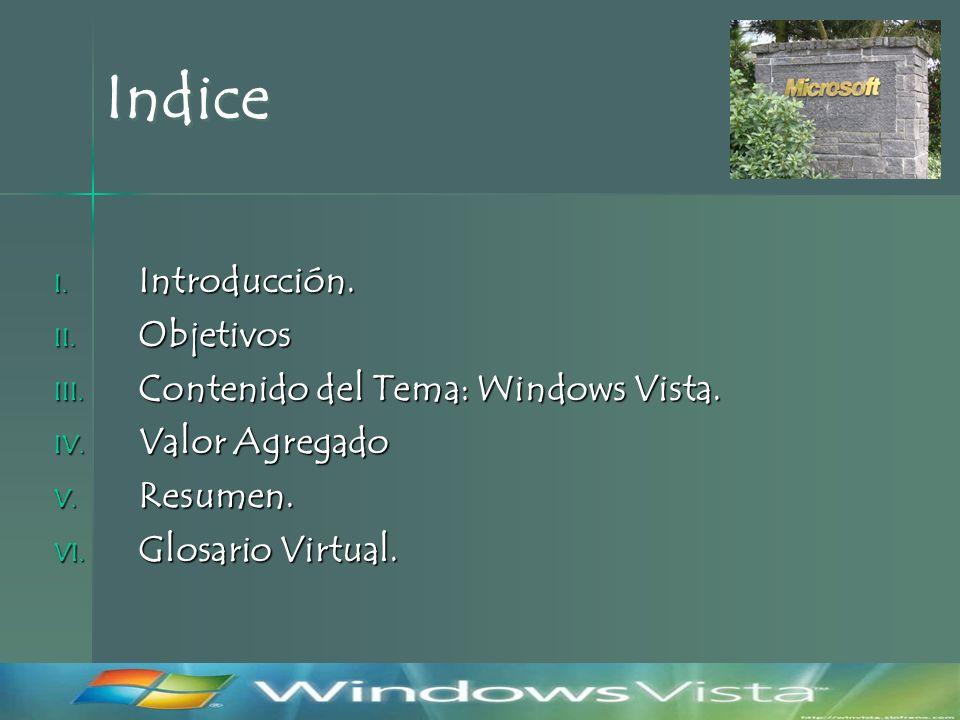 Indice I. Introducción. II. Objetivos III. Contenido del Tema: Windows Vista.