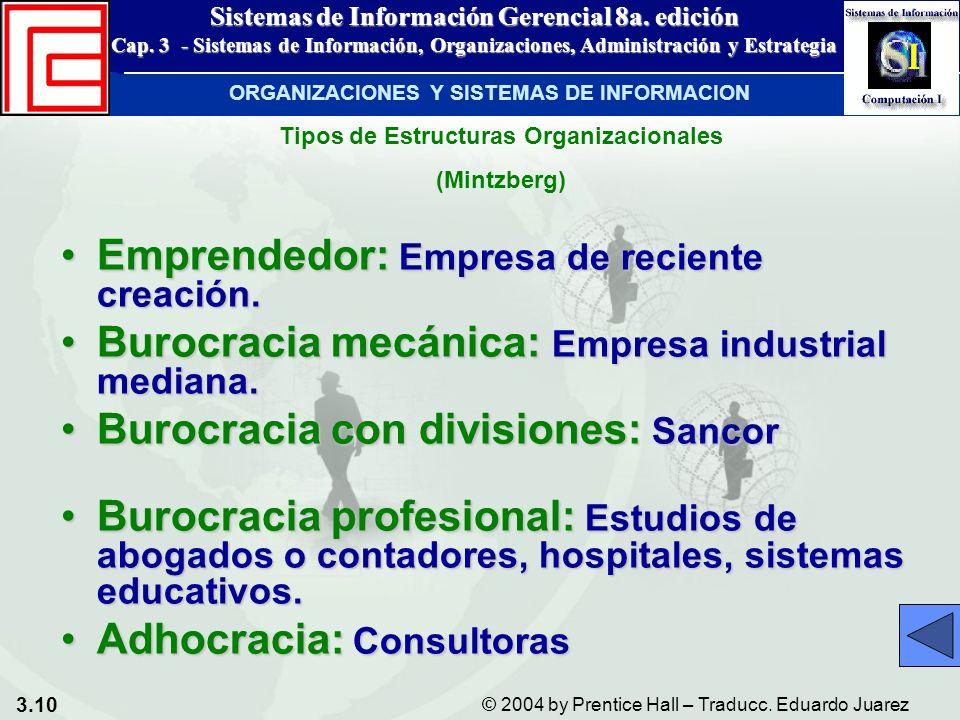 3.10 © 2004 by Prentice Hall – Traducc. Eduardo Juarez Sistemas de Información Gerencial 8a. edición Cap. 3 - Sistemas de Información, Organizaciones,
