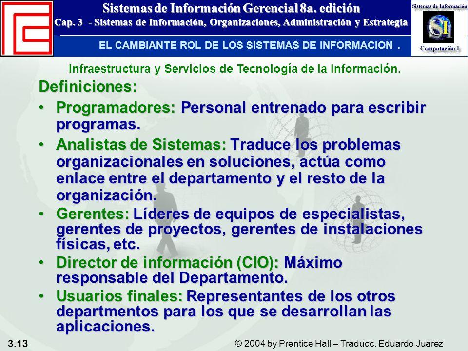 3.13 © 2004 by Prentice Hall – Traducc. Eduardo Juarez Sistemas de Información Gerencial 8a. edición Cap. 3 - Sistemas de Información, Organizaciones,