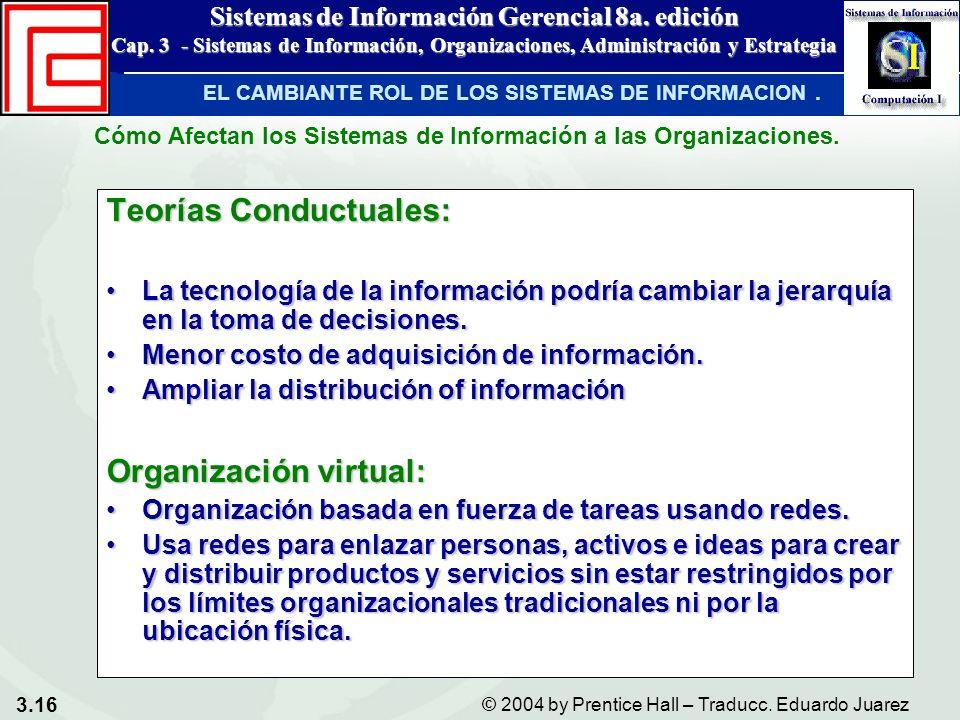 3.16 © 2004 by Prentice Hall – Traducc. Eduardo Juarez Sistemas de Información Gerencial 8a. edición Cap. 3 - Sistemas de Información, Organizaciones,