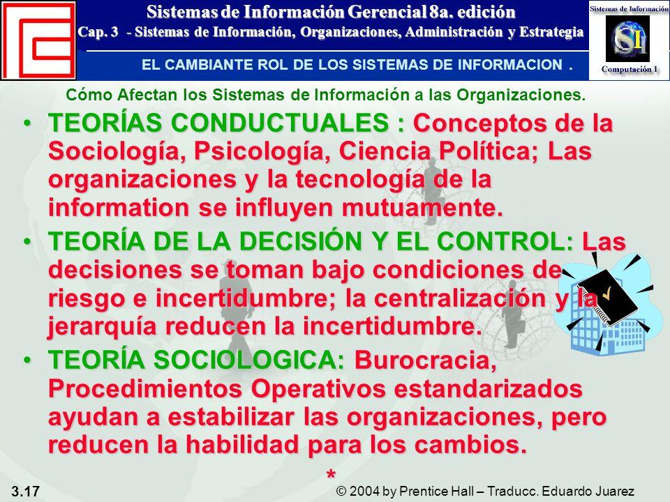 3.17 © 2004 by Prentice Hall – Traducc. Eduardo Juarez Sistemas de Información Gerencial 8a. edición Cap. 3 - Sistemas de Información, Organizaciones,