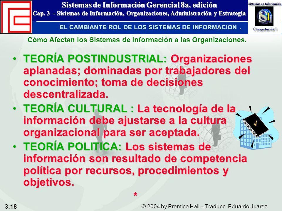 3.18 © 2004 by Prentice Hall – Traducc. Eduardo Juarez Sistemas de Información Gerencial 8a. edición Cap. 3 - Sistemas de Información, Organizaciones,