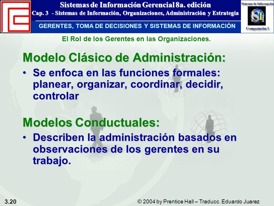 3.20 © 2004 by Prentice Hall – Traducc. Eduardo Juarez Sistemas de Información Gerencial 8a. edición Cap. 3 - Sistemas de Información, Organizaciones,