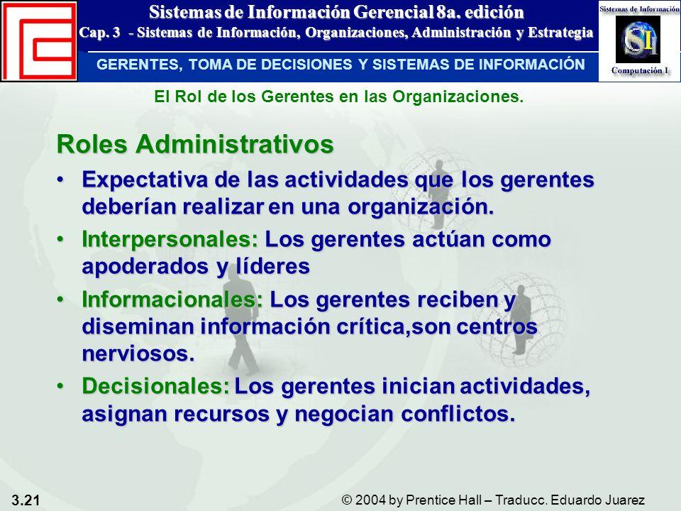 3.21 © 2004 by Prentice Hall – Traducc. Eduardo Juarez Sistemas de Información Gerencial 8a. edición Cap. 3 - Sistemas de Información, Organizaciones,