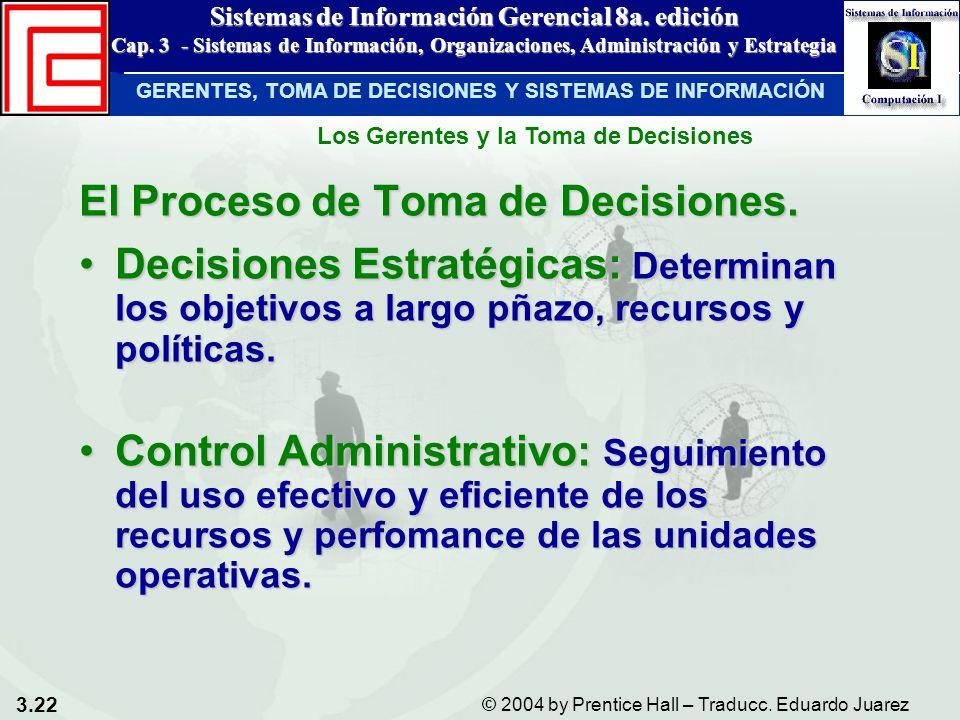 3.22 © 2004 by Prentice Hall – Traducc. Eduardo Juarez Sistemas de Información Gerencial 8a. edición Cap. 3 - Sistemas de Información, Organizaciones,