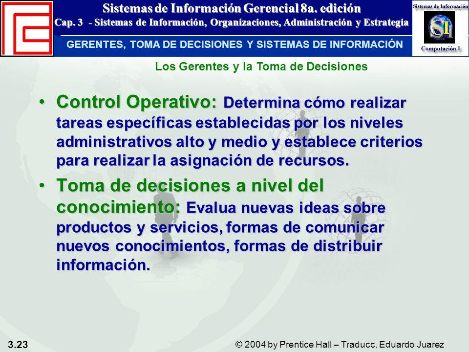 3.23 © 2004 by Prentice Hall – Traducc. Eduardo Juarez Sistemas de Información Gerencial 8a. edición Cap. 3 - Sistemas de Información, Organizaciones,