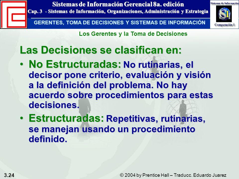 3.24 © 2004 by Prentice Hall – Traducc. Eduardo Juarez Sistemas de Información Gerencial 8a. edición Cap. 3 - Sistemas de Información, Organizaciones,