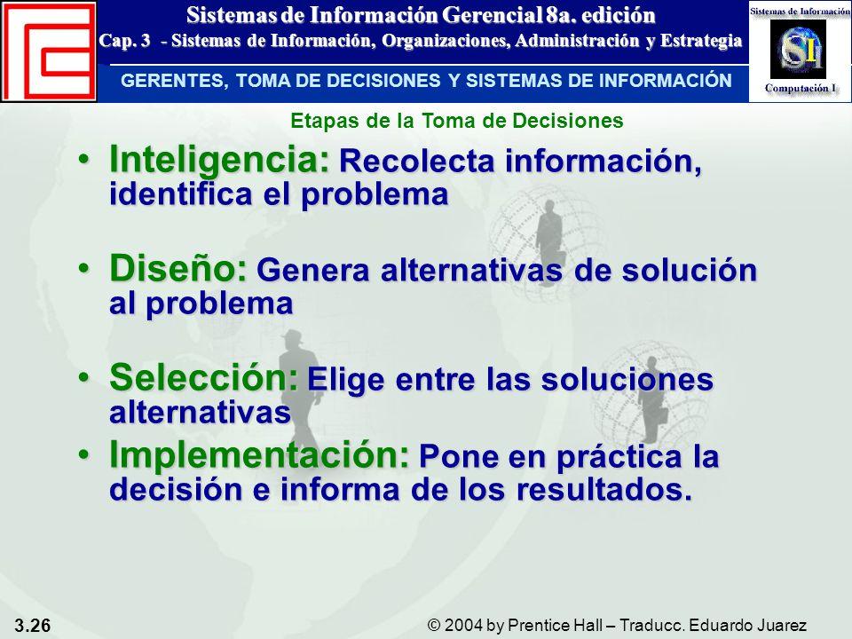 3.26 © 2004 by Prentice Hall – Traducc. Eduardo Juarez Sistemas de Información Gerencial 8a. edición Cap. 3 - Sistemas de Información, Organizaciones,