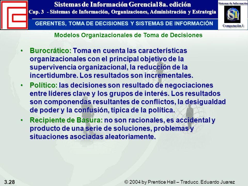 3.28 © 2004 by Prentice Hall – Traducc. Eduardo Juarez Sistemas de Información Gerencial 8a. edición Cap. 3 - Sistemas de Información, Organizaciones,