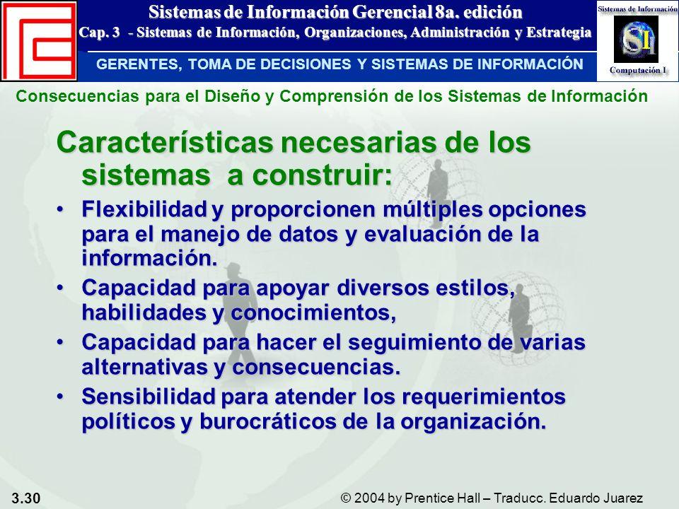 3.30 © 2004 by Prentice Hall – Traducc. Eduardo Juarez Sistemas de Información Gerencial 8a. edición Cap. 3 - Sistemas de Información, Organizaciones,