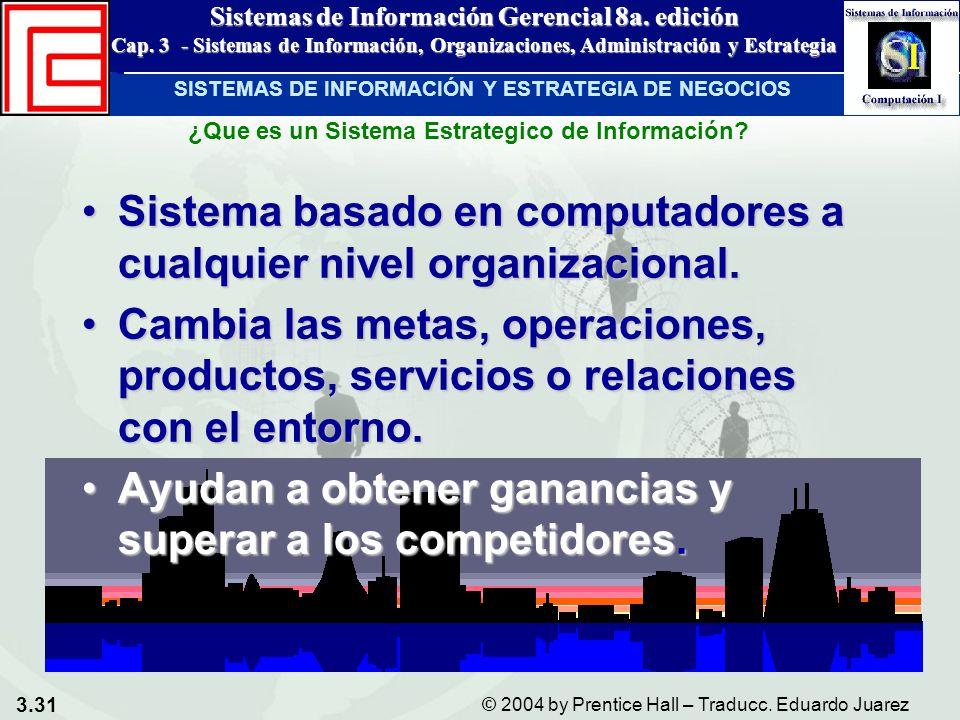 3.31 © 2004 by Prentice Hall – Traducc. Eduardo Juarez Sistemas de Información Gerencial 8a. edición Cap. 3 - Sistemas de Información, Organizaciones,