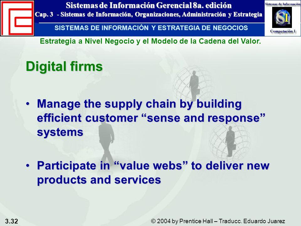 3.32 © 2004 by Prentice Hall – Traducc. Eduardo Juarez Sistemas de Información Gerencial 8a. edición Cap. 3 - Sistemas de Información, Organizaciones,