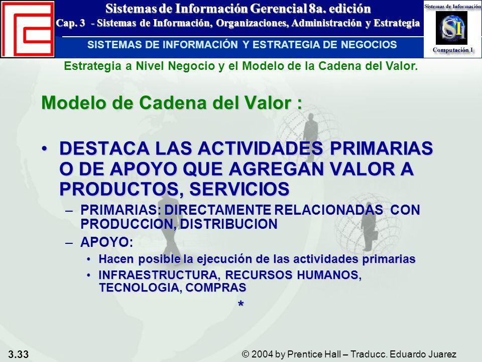 3.33 © 2004 by Prentice Hall – Traducc. Eduardo Juarez Sistemas de Información Gerencial 8a. edición Cap. 3 - Sistemas de Información, Organizaciones,
