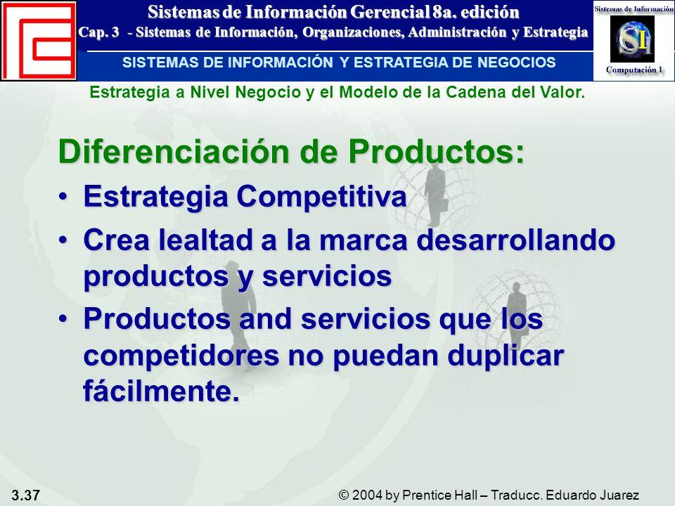 3.37 © 2004 by Prentice Hall – Traducc. Eduardo Juarez Sistemas de Información Gerencial 8a. edición Cap. 3 - Sistemas de Información, Organizaciones,