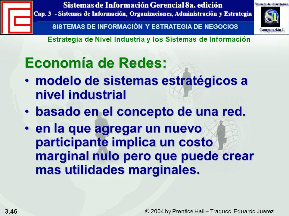 3.46 © 2004 by Prentice Hall – Traducc. Eduardo Juarez Sistemas de Información Gerencial 8a. edición Cap. 3 - Sistemas de Información, Organizaciones,