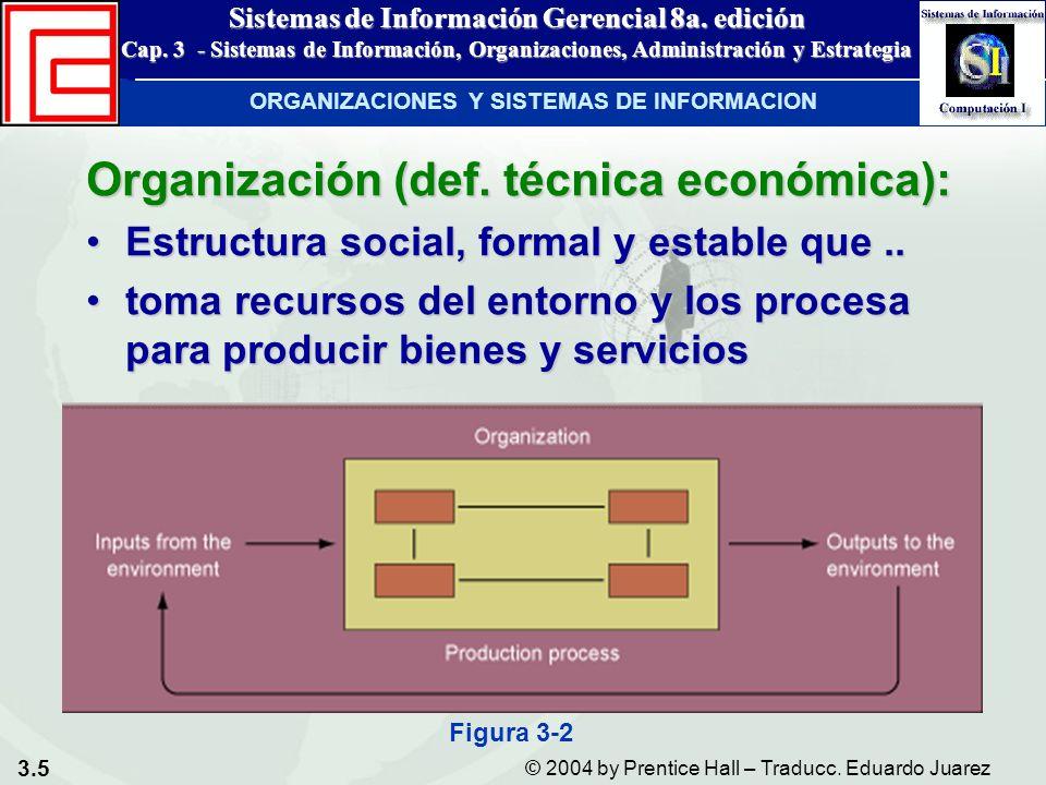 3.5 © 2004 by Prentice Hall – Traducc. Eduardo Juarez Sistemas de Información Gerencial 8a. edición Cap. 3 - Sistemas de Información, Organizaciones,