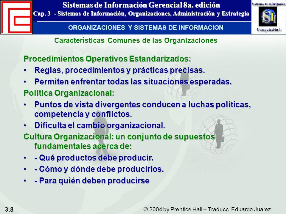 3.8 © 2004 by Prentice Hall – Traducc. Eduardo Juarez Sistemas de Información Gerencial 8a. edición Cap. 3 - Sistemas de Información, Organizaciones,