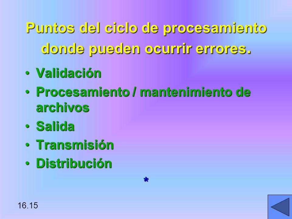 16.15 Puntos del ciclo de procesamiento donde pueden ocurrir errores.